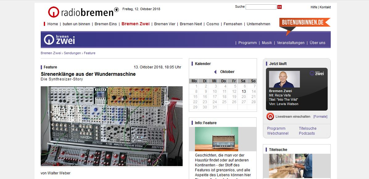 Radio Feature about Synthesizers by Radio Bremen Zwei