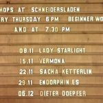 Upcoming events at SchneidersLaden – with Lady Starlight, Dieter Doepfer, Vermona, Endorphin.es and Sacha Ketterlin